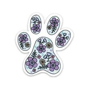 FLORAL PAW PRINT DOG STICKER