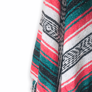 TEAL AND PINK MEXICAN THROW BLANKET