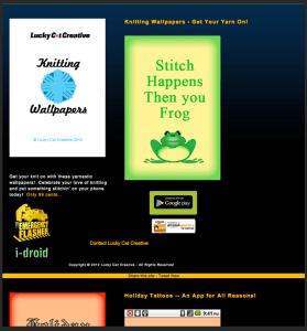webpage of Lucky Cat Creative mobile apps and Knitting Wallpapers app showing green frog with phrase Stitch Happens Then you Frog