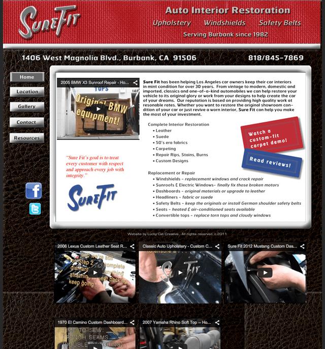 homepage of Sure Fit Burbank website