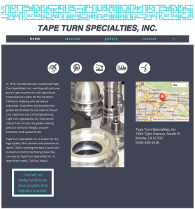 homepage of Tape Turn Specialties, Inc. website designed, built, powered by Lucky Cat Creative