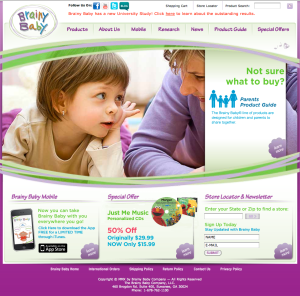 homepage of redesigned BrainyBaby.com in 2010