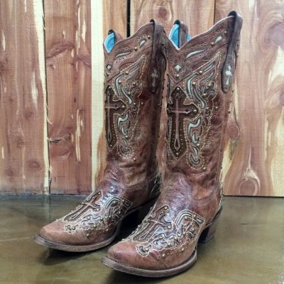 Corral Cognac/Bone Inlay Cross & Studs Boot C2853