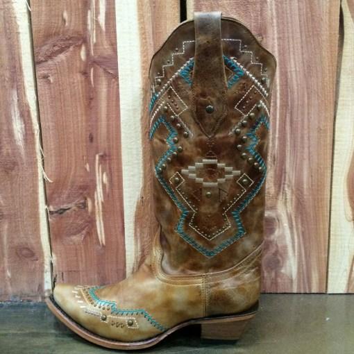 Corral Women's Ethnic & Stud Snip Toe Boot C2944