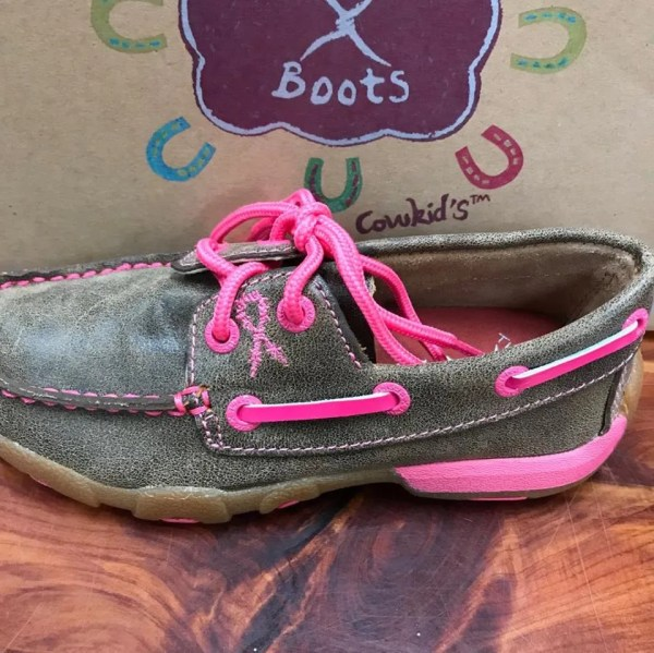 Kid's Twisted X Brown and Pink Driving Mocs YDM0015