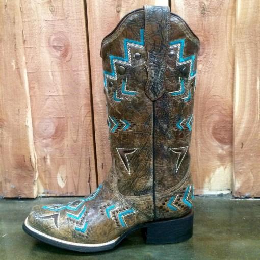 Corral Bronze & Turquoise Aztec Square Toe Boot E1024