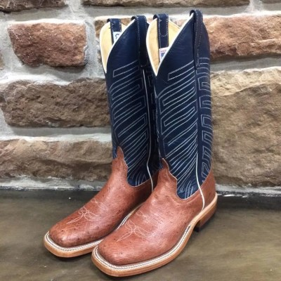 Women's Anderson Bean Rum Brown Smooth Ostrich Regal Blue Boot