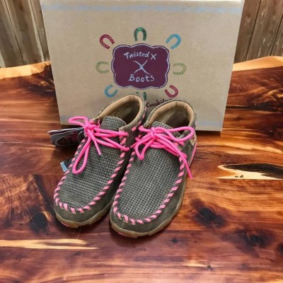 Kid's Twisted X Neon Pink/Bomber Driving Mocs YDM0026