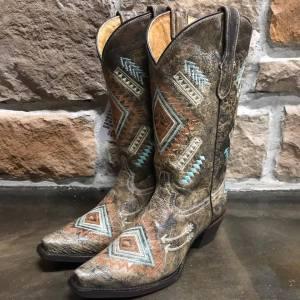 Kid's Corral Multicolor Diamond Embroidered Boots E1049