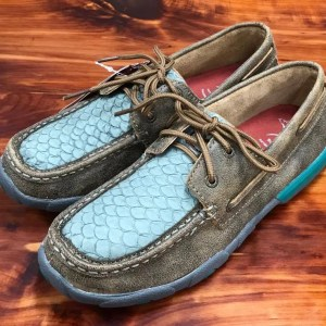 Women's Twisted X Turquoise Fish Driving Mocs WDM0067