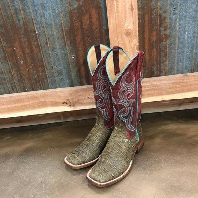 Women's Anderson Bean Imitation Croc Square Toe Boot M9118