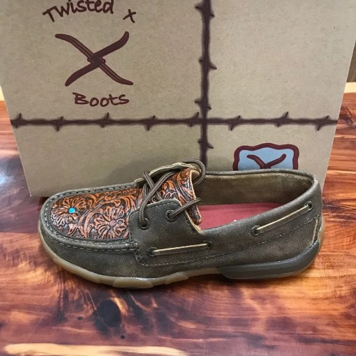 Women's Twisted X Driving Mocs-Brown/Tooled Flower WDM0092