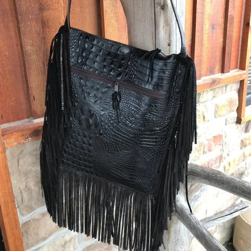 The Fergie Spotted Brown Gator Purse