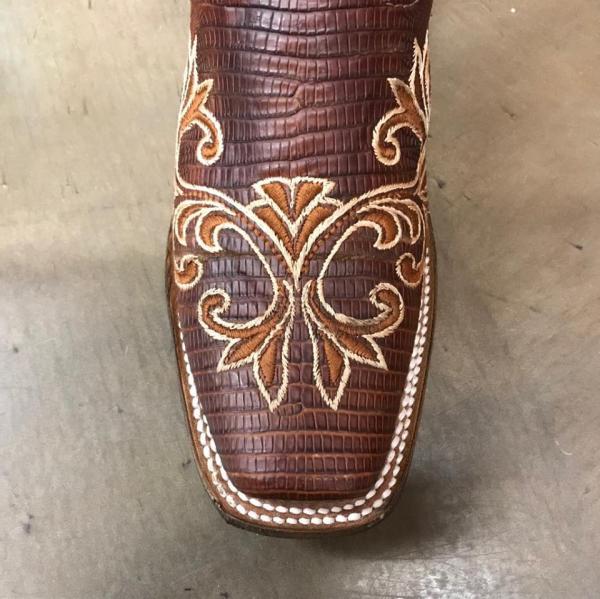 Corral Women's Tan Lizard Embroidery Square Toe Boot A3574