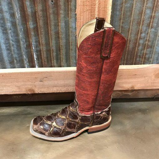 Anderson Bean Women's Shiny Bronze Big Bass Square Toe Boots 3068M