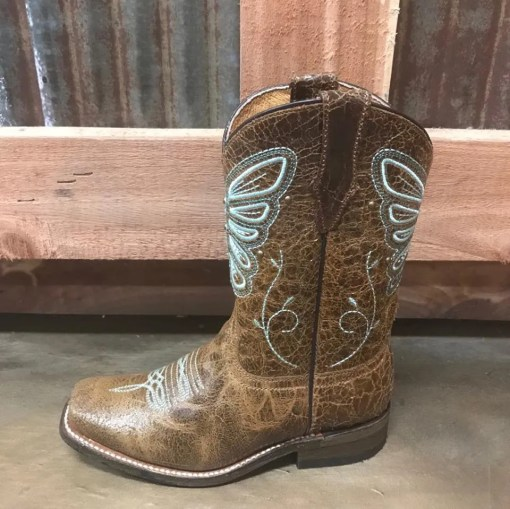 Girl's Corral Honey Butterfly Embroidery Studs Snip Toe Boot E1256