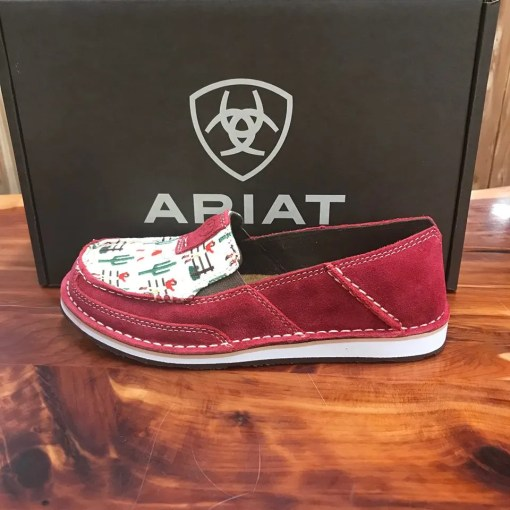 Women's Ariat Cruiser- Cranberry Red with Vintage Canvas 10024768