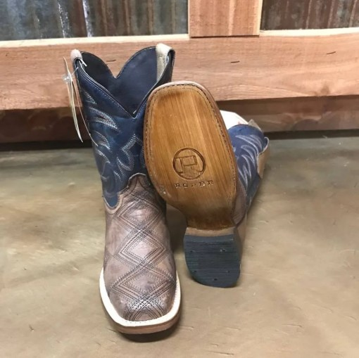 Kid's Roper Tan Cross Cut Square Toe Boot