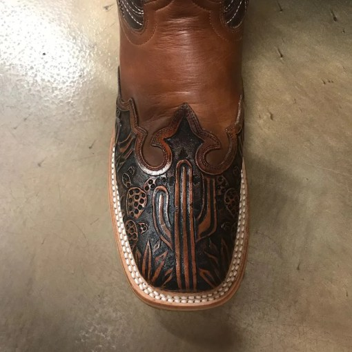 Women's Tin Haul Hard To Handle Cactus Tooled Square Toe Boots 1350BR