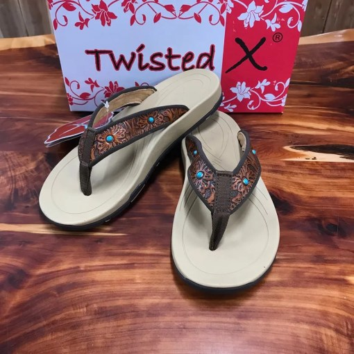 Women's Twisted X Tan Tooled Sandals WSD0033