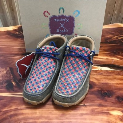 Kid's Twisted X Driving Mocs- Red/Blue Multi-Colored YDM0038
