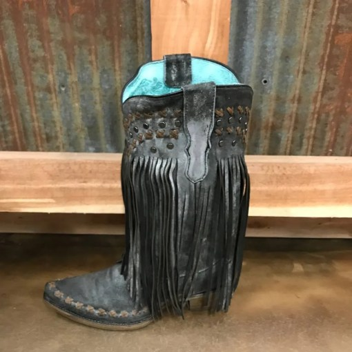 Women's Corral Black Vintage Boots with Fringe E1411