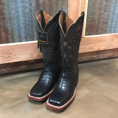 Women's Ariat Black Caiman Belly Exotic Square Toe Boot 10025018