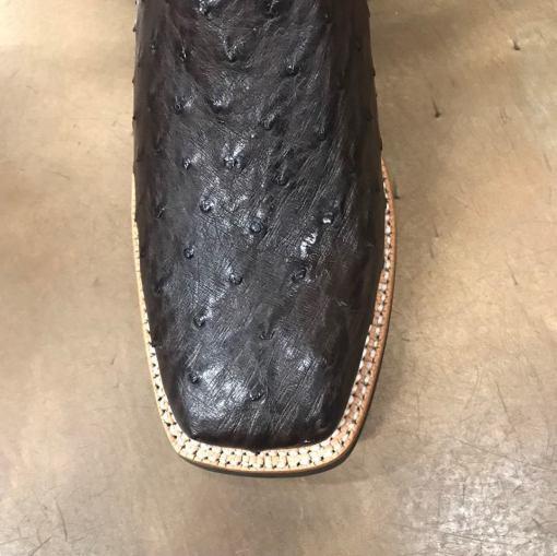 Men's Ariat Brown Platinum Full Quill Tobacco Ostrich Square Toe Boots 10025180