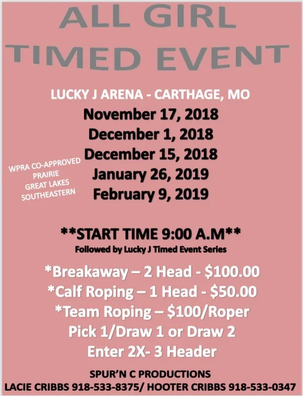 Spur'N C All Girl Timed Event 2018