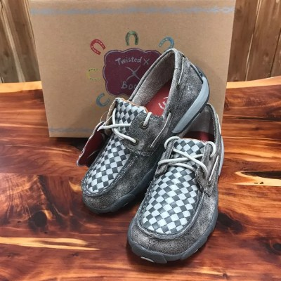 Kids Twisted X Grey Driving Mocs YDM0039