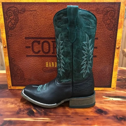 Corral Youth Tyson Durfey Chocolate & Hunter Green Square Toe Boots T0018