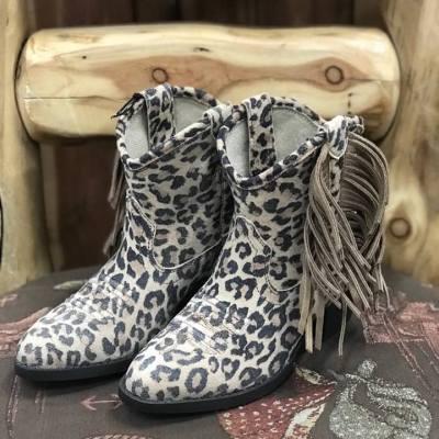 Ariat Girl's Duchess Leopard Fringe Bootie 100027286