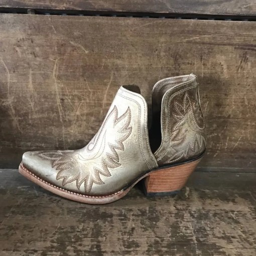 Women's Dixon Western Bootie in Distressed Gold 10027287