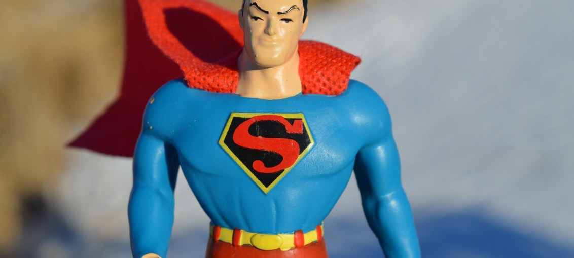 Pic of toy superman with cape blowing in wind