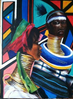 The Ndebele and Padaung Woman 16x20 Acrylic on canvas