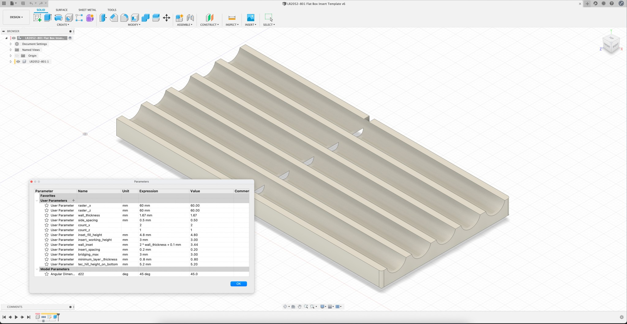 Fusion 360 Storage Boxes Insert Template