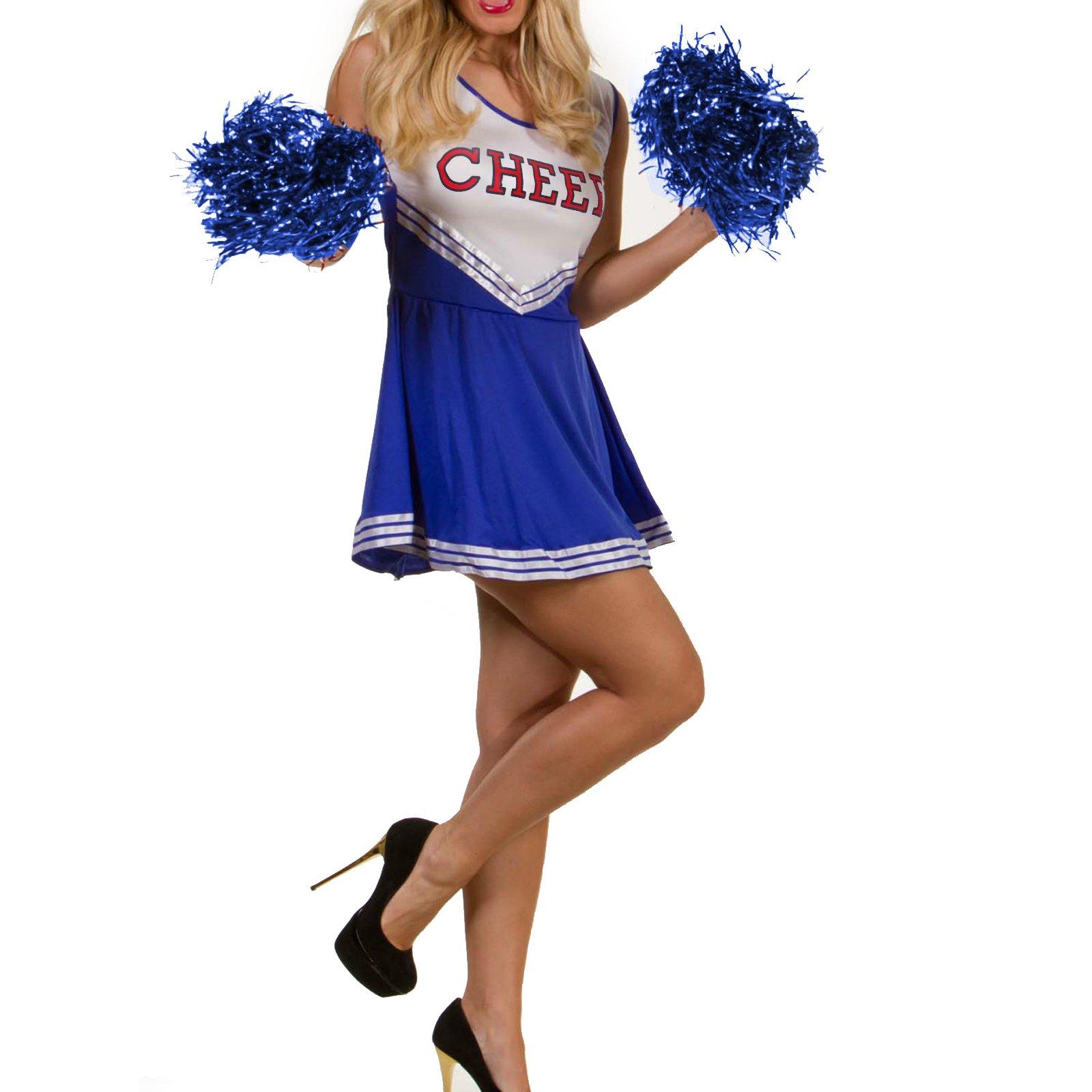 Tank Dress Blue Pom Pom Girl Cheerleaders Dress Fancy