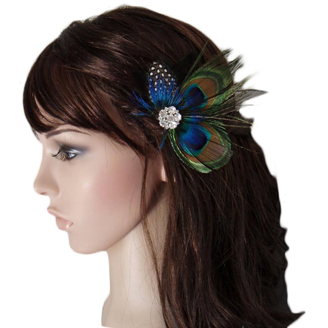 Cute Peacock Feather Bridal Wedding Hair Clip Headpiece