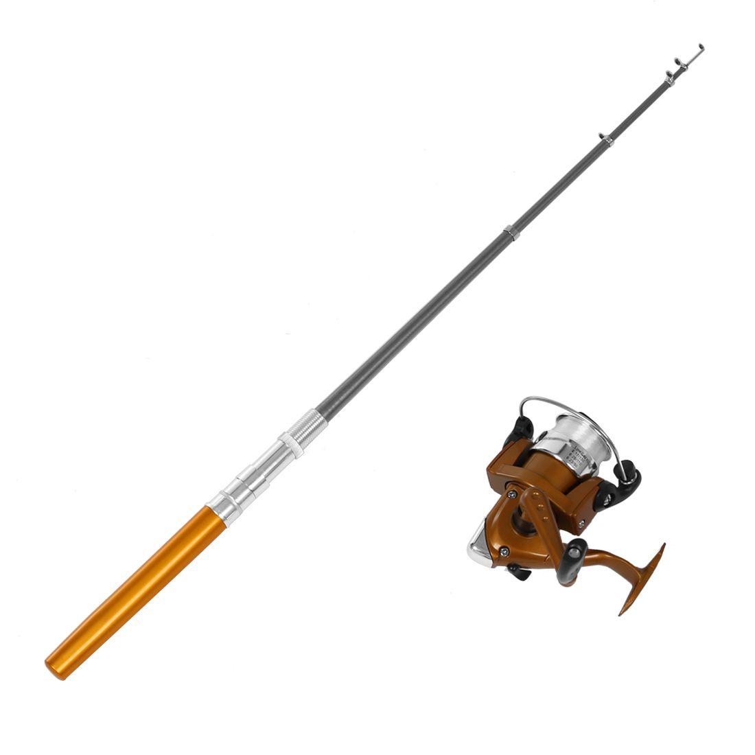Telescopic Fishing Rod Portable Pen Shape 1m Reel Spool