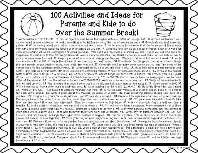 100 Activities & Ideas for Parents and Kids to Do Over Summer Break! Grab the FREEBIE!