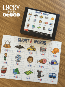 Short Vowel Puzzles from Lucky to Be in First   Upload high-res photo to Shutterfly and create a puzzle for students to complete!