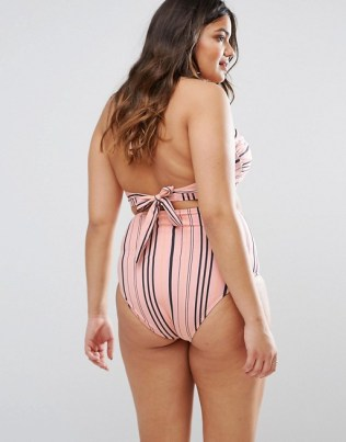 Junarose Stripe High Waist Bikini Bottom