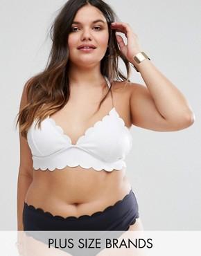 Mismatch Scallop Trim Bikini Top