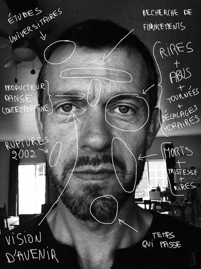 Autoportrait annoté / Luc Pallegoix, 2013.