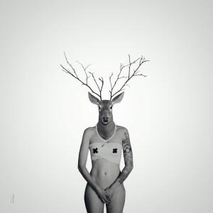 La première des biches / Luc Pallegoix, 2015. Encre pigmentaire sur papier Moab blanc 300 gr. Disponible en grand format |50 x 50 cm 5 ex.| ou moyen format | 23 x 23 cm 10 ex. |