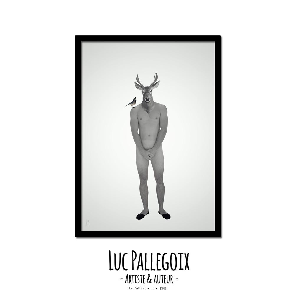 Le faon fin et le geai bleu / Luc Pallegoix, 2016. 8,5 x 11 pouces encadré en noir