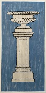 Une coupe Médicis sur un piédestal / Luc Pallegoix, 2021. Acrylique et encaustique sur panneau de bois contreplaqué, percé et brodé au Phentex. 68 x 134 cm .