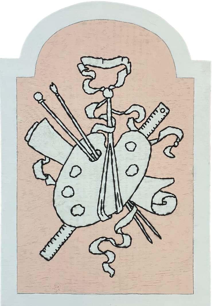 Un boulingrin aux attributs de  la peinture / Luc Pallegoix, 2021. Acrylique sur panneau de bois contreplaqué, percé et brodé au Phentex. 88x61 cm