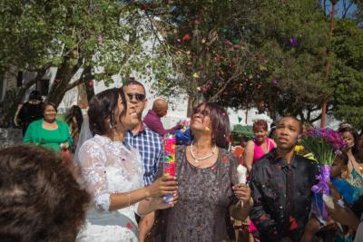 Bride Popping Confetti