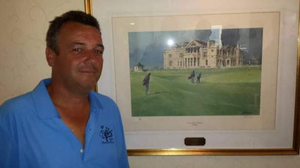 Don with Bob's painting Royal Dornoch